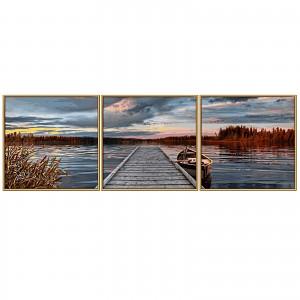 Malen nach Zahlen 60947074 Sonnenaufgang am See Triptychon 120x40cm