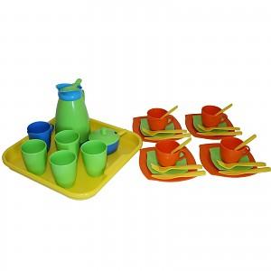 Kaffeeservice Service auf Tablett 34-tlg. Puppengeschirr Spielzeug Geschirr