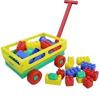 Wader - Handwagen mit Babybausteinen (34 -tlg.)