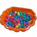 orange Wassermuschel mit 100 bunten Bällen