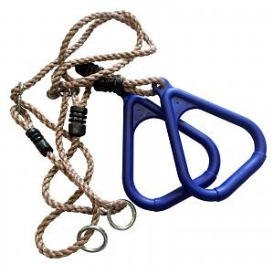 Dreieckige Turnringe mit Seil, blau