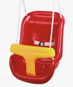 Unterteilter Babyschaukelsitz rot/gelb