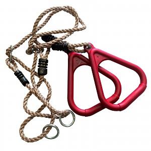 Dreieckige Turnringe mit Seil, rot