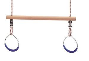 Trapez mit Turnringe Metall und Seil blau
