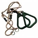 Dreieckige Turnringe mit Seil, grün