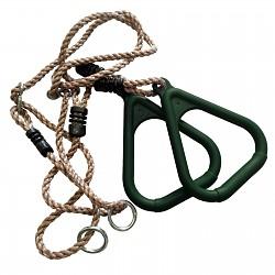 Turnringe mit Seil grün - Kunststoff-Seilringe Dreieck