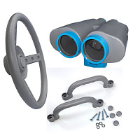 Spielturm-Set Lenkrad, Fernglas und Handgriffe grau