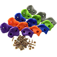 15er Set Klettersteine aus Kunststoff - orange,lila, grau, blau, apfelgrün