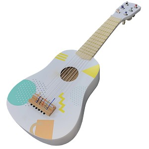 Gitarre aus Holz - weiß/bunt