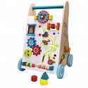 Lauflernwagen aus Holz Baby Walker Gehfrei Lauflernhilfe Steckspiel