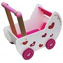 Baby Puppenwagen Puppenmöbel Lauflernwagen Schiebewagen rosa/weiß mit Bettwäsche