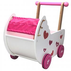 Baby Puppenwagen Puppenmöbel Lauflernwagen Schiebewagen rosa/weiß