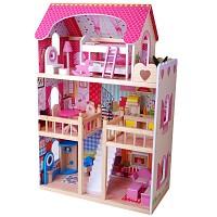 XL Puppenhaus Puppenstube aus Holz mit Möbel Zubehör Einrichtung Spielhaus Neu