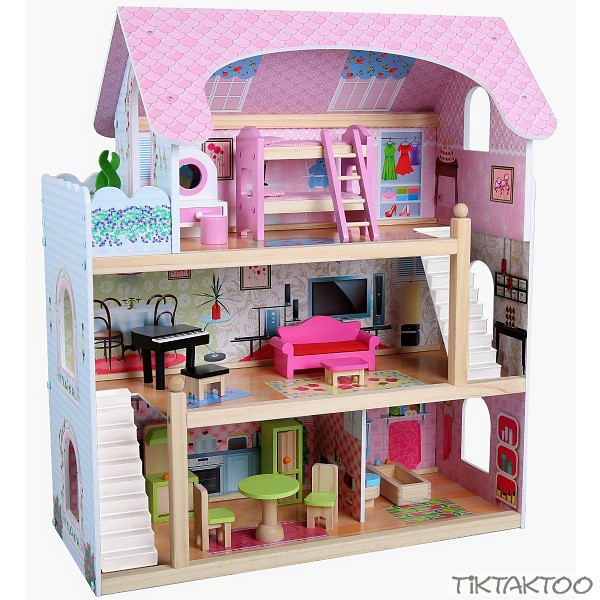 puppenhaus aus holz mit m bel puppenstube zubeh r einrichtung spielhaus 3 etagen tiktaktoo. Black Bedroom Furniture Sets. Home Design Ideas