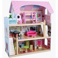 Puppenhaus aus Holz mit Möbel Puppenstube Zubehör Einrichtung Spielhaus 3 Etagen