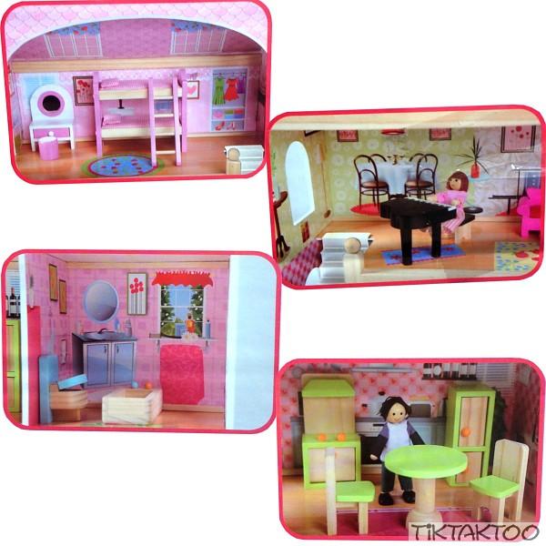 Puppenhaus Holz Kindergarten ~ Puppenhaus aus Holz mit Möbel Puppenstube Zubehör Einrichtung