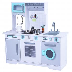 Holzspielküche mit Zubehör - weiß/türkis