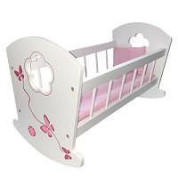 Puppenbett aus Holz - weiß/pink
