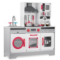 Holzspielküche mit Zubehör, Licht und Sound - grau/weiß/rot