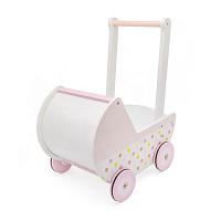 Puppenwagen/Babywalker aus Holz - rosa