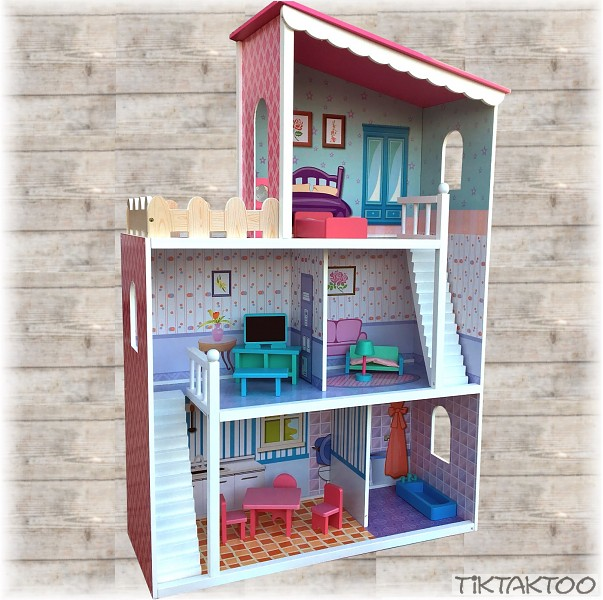xxl gro es puppenhaus aus holz dream villa barbiehaus. Black Bedroom Furniture Sets. Home Design Ideas