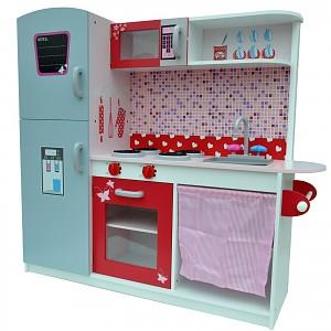 Deluxe Kinderküche Spielküche weiss rot rosa grau aus Holz /MDF Deluxe Kinderspiel