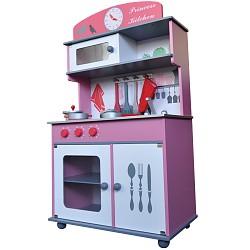 PRINCESS Spielküche Kinderküche aus Holz ~pink ~ grau ~ weiss ~ mit Zubehör ~ für