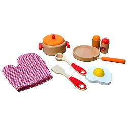 Holz Kochset für Kinder rot~orange~natur Pfanne Kochtopf Küchenzubehör Kaufladen K