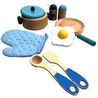 Holz Kochset für Kinder blau~natur Pfanne Kochtopf Küchenzubehör Kaufladen K