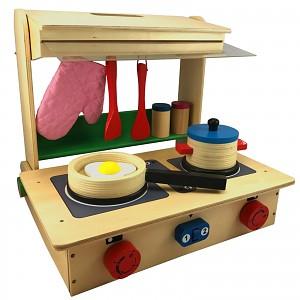 Spielküche zum Mitnehmen Kinderküche aus Holz samt reichhaltigem Zubehör ab 3 Jahr