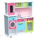 XXL Spielküche Kinderküche aus Holz weiss/bunt