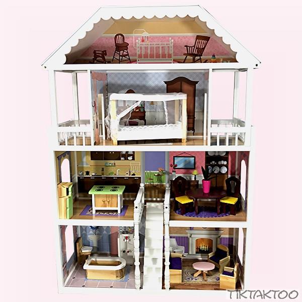 xl puppenhaus weiss grau puppenstube aus holz mit m bel zubeh r einrichtung spielhaus neu. Black Bedroom Furniture Sets. Home Design Ideas