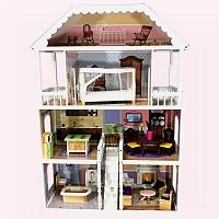 XL Puppenhaus weiss grau Puppenstube aus Holz mit Möbel Zubehör Einrichtung Spielhaus Neu