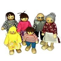 Biegepuppen Holzbiegepuppen für Puppenhaus Familie 6 teilig Biegepüppchen