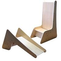 Stuhl und Rutsche für Kinder aus Holz