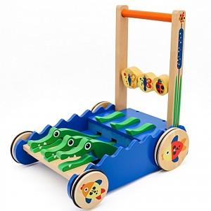 Lauflernwagen aus Holz Lauflernhilfe Laufwagen Krokodil Schiebetier