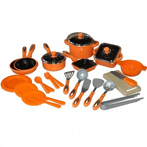 28tlg Kinder Kochgeschirr Puppengeschirr Topfset Puppenküche Puppentöpfe orange