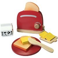 Toaster Holzspielzeug Kinderküche Spielküche Kaufladen Zubehör 10teilig Spielset