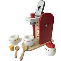 Kaffeemaschine Holz Spielzeug 9-teilig Kaufladen Kinderküche Spielküche Zubehör