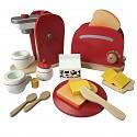 Kinderküchenset - Kaffeemaschine und Toaster aus Holz rot