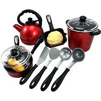Kochset Töpfe, Wasserkessel und Pfanne mit Zubehör, 13 teiliges Set für die Spielk