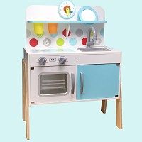 Holz-Kinderspielküche weiß/mint Spielküche Kinderküche
