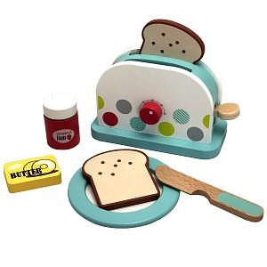 Toaster aus Holz mit Zubehör für Kinder Spielküche Kinderküche
