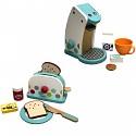 Kinderküchenset - Kaffeemaschine und Toaster aus Holz weiß/bunt