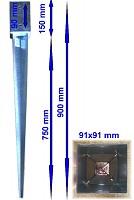 Einschlagbodenhülse 91x91x900mm