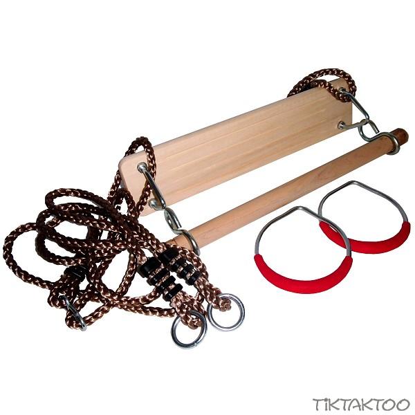turnger te set holztrapez ringe schaukel trapez turnringe spielturm f r kinder ebay. Black Bedroom Furniture Sets. Home Design Ideas