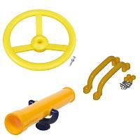 Spielturm-Set Lenkrad, Fernrohr und Handgriffe gelb