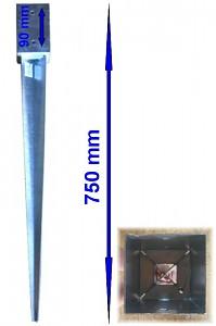 Einschlagbodenhülse 71x71x750mm Bodenhülse Pfostenträger