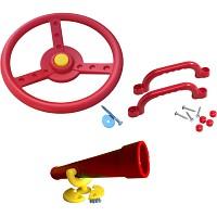 Spielturm-Set Lenkrad, Fernrohr und Handgriffe rot