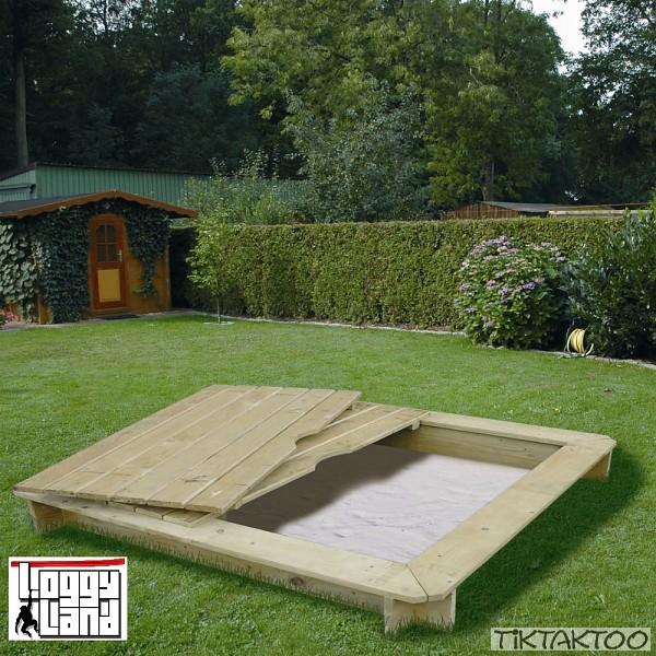 sandkasten mit deckel sandkiste holz 120x120cm. Black Bedroom Furniture Sets. Home Design Ideas